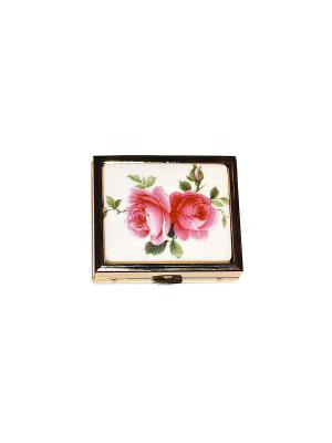 Декоративная шкатулка Английская роза прямоугольной формы с позолотой и фарфоровой вставкой. Reutter Porzellan. Цвет: зеленый, красный, белый