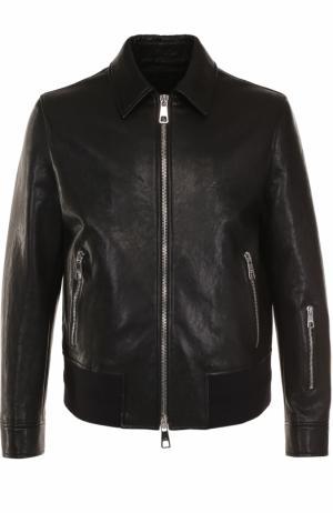 Кожаная куртка на молнии с отложным воротником Neil Barrett. Цвет: черный