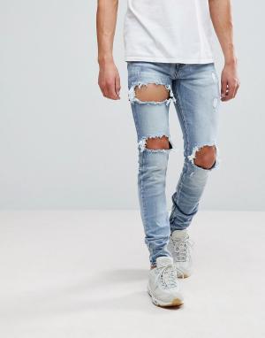 Sixth June Рваные джинсы скинни. Цвет: синий
