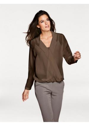 Шелковая блузка PATRIZIA DINI. Цвет: молочно-белый, серо-коричневый
