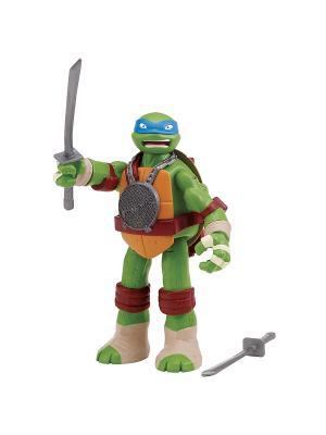 Фигурка функ.Черепашки-ниндзя 15см со звуковыми эффектами Леонардо Playmates toys. Цвет: зеленый, синий