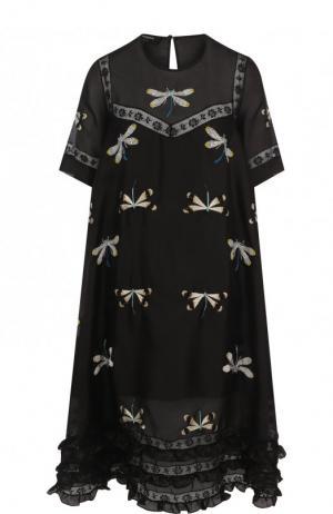 Шелковое платье свободного кроя с вышивкой Rochas. Цвет: черный