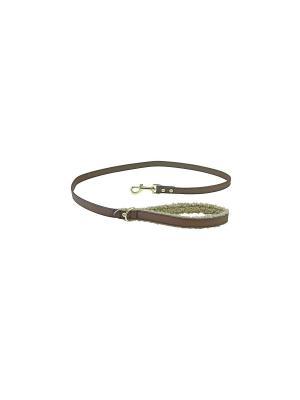 Поводок кожа/мех FUR коричневый 125 см для собак Happy House. Цвет: зеленый, коричневый