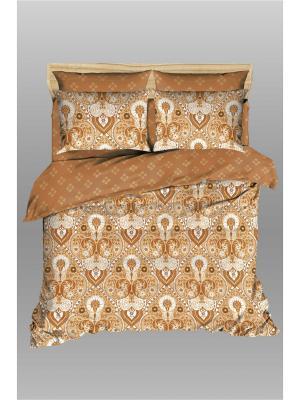 Комплект постельного белья из сатина Василиса Царевна Евро. Цвет: коричневый