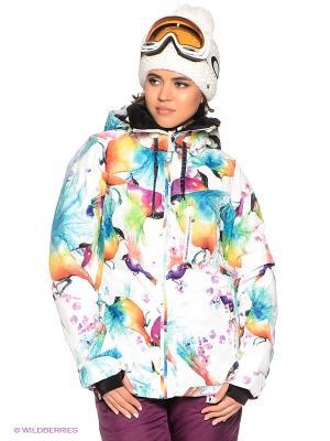 Куртка WILDLIFE JK ROXY. Цвет: белый, бирюзовый, оранжевый, желтый