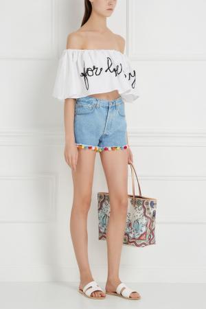 Джинсовые шорты с помпонами Forte Couture. Цвет: голубой