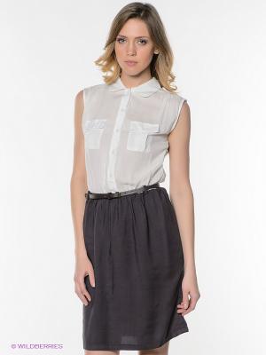 Платье Vis-a-vis. Цвет: белый, темно-серый