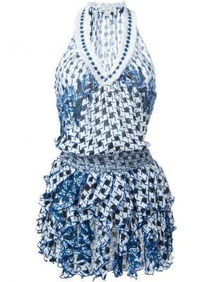 Платье Beline с рюшами Poupette St Barth. Цвет: синий