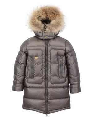 Пальто с утеплителем Pulka. Цвет: светло-серый