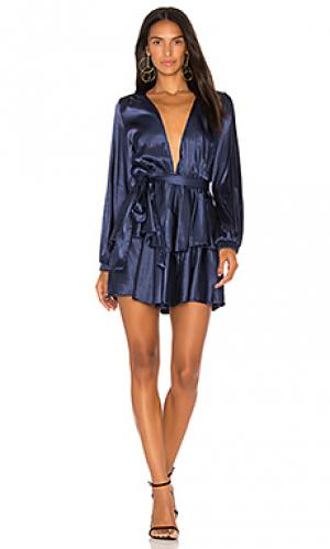 Платье с воланами chamboard LIONESS. Цвет: синий