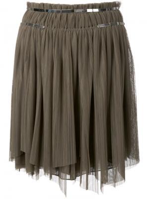 Плиссированная юбка Jay Ahr. Цвет: зелёный