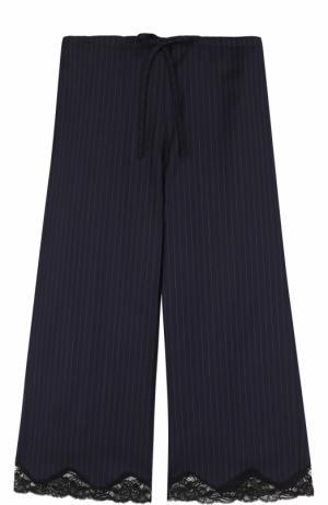 Укороченные брюки с кружевной отделкой и эластичным поясом Alexander Wang. Цвет: темно-синий