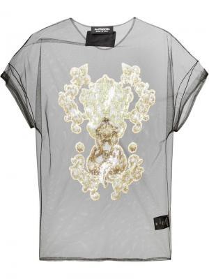 Прозрачная блузка декорированная пайетками Antpitagora. Цвет: чёрный