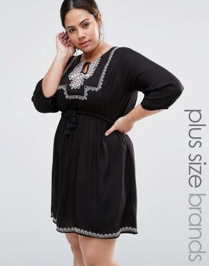 Diya Платье с вышивкой Plus. Цвет: черный