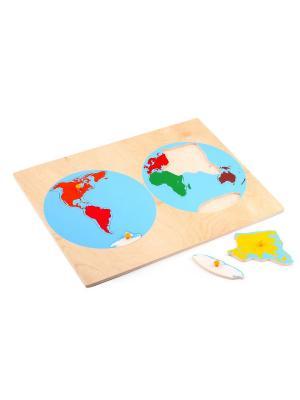 Пазл Карта континентов ЛЭМ. Цвет: зеленый, красный, морская волна