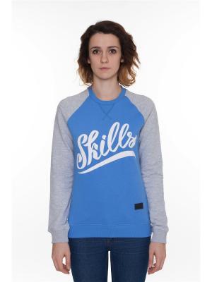 Свитшот SKILLS W Script Logo 3 Crewneck. Цвет: лазурный, голубой, серый меланж