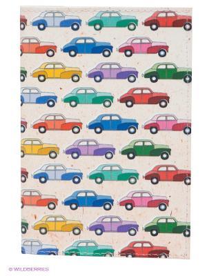 Обложка для паспорта Цветные машинки Mitya Veselkov. Цвет: кремовый, синий, зеленый, красный