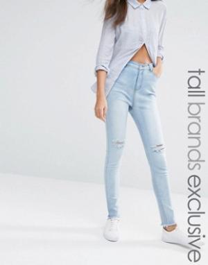 Liquor & Poker Tall Суперзауженные джинсы с рваными коленями и эффектом кислотной стирки L. Цвет: синий