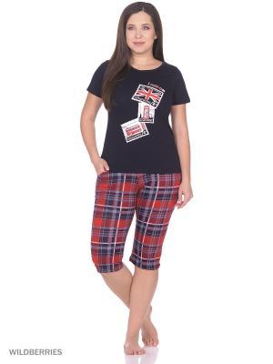 Пижама женская (футболка,капри) MARSOFINA. Цвет: красный, темно-синий
