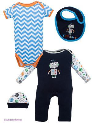 Комплект Hudson Baby. Цвет: темно-синий, голубой, оранжевый, белый