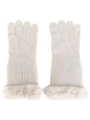 Перчатки с меховой отделкой N.Peal. Цвет: телесный