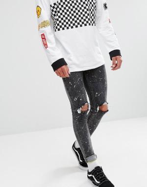 New Look Черные выбеленные джинсы скинни с рваной отделкой и принтом. Цвет: черный