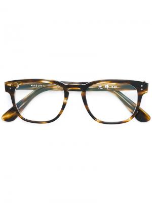 Square frame glasses Masunaga. Цвет: коричневый