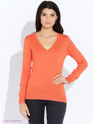 Пуловер Oodji. Цвет: оранжевый