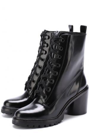 Кожаные ботильоны на шнуровке Marc Jacobs. Цвет: черный