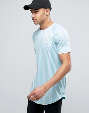 SikSilk Голубая футболка с полосками и асимметричным краем. Цвет: синий