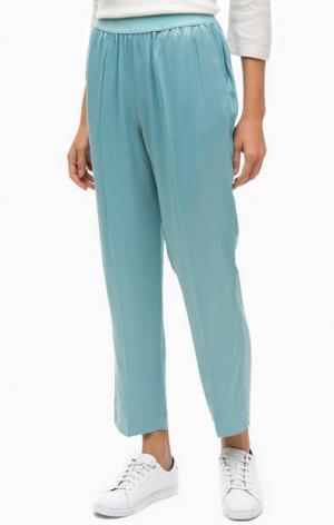 Синие укороченные брюки Stefanel. Цвет: синий