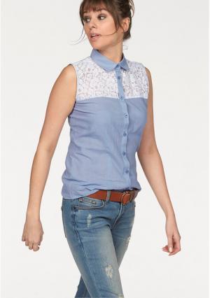 Кружевная блузка AJC. Цвет: индиго/белый