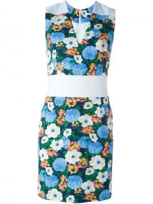 Облегающее платье с цветочным принтом Carven. Цвет: белый