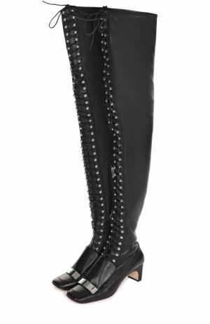 Кожаные ботфорты на шнуровке Sergio Rossi. Цвет: черный