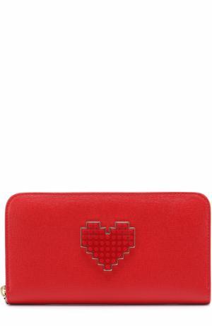 Кожаное портмоне с декором на молнии Les petits joueurs. Цвет: красный