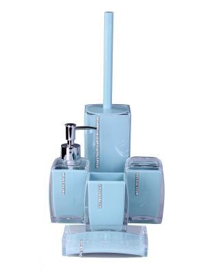 Набор для ванны 5 предметов: дозатор, стакан зубных щеток, стакан, мыльница, ершик туалета PATRICIA. Цвет: голубой