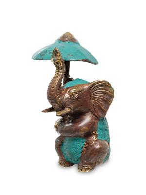 Фигура Слон под зонтом бронза (о.Бали) Decor & gift. Цвет: коричневый, зеленый