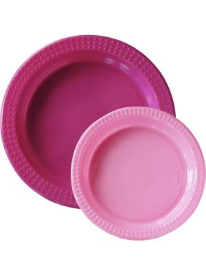 Тарелки пластиковые, 22см и 17см, 10+10 шт, Фуксия Розовый DUNI. Цвет: розовый
