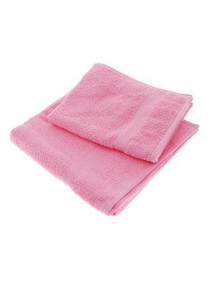 Набор из 2х махровых полотенец розовый - 50*90, 70х140, УзТ-НПМ-102-04 Aisha. Цвет: розовый