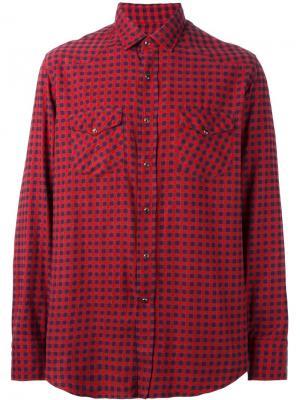 Клетчатая рубашка Salvatore Piccolo. Цвет: красный