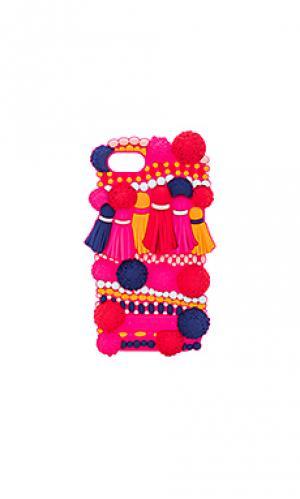 Силиконовый чехол с помпонами для iphone 7 kate spade new york. Цвет: розовый