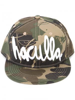 Камуфляжная кепка с принтом логотипа Haculla. Цвет: зелёный