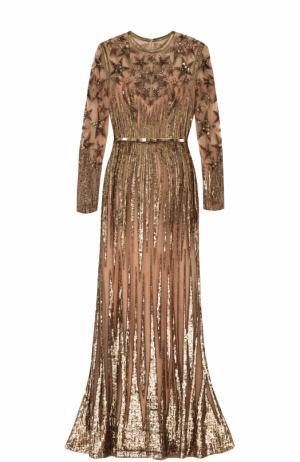 Платье-макси с поясом и пайетками Elie Saab. Цвет: золотой