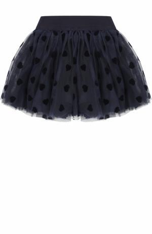 Многослойная мини-юбка с эластичным поясом Monnalisa. Цвет: синий