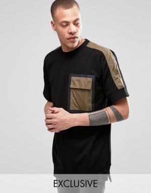 Black Eye Rags Свитшот с короткими рукавами и отделкой на кармане. Цвет: зеленый