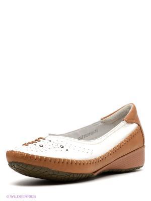 Балетки Covani. Цвет: белый, коричневый