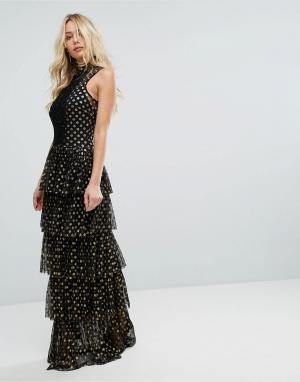 Body Frock Ярусное платье макси в горошек Bodyfrock. Цвет: черный