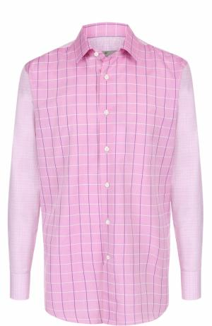 Хлопковая рубашка в клетку с воротником кент Canali. Цвет: розовый