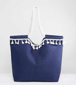South Beach Темно-синяя пляжная сумка с отделкой. Цвет: темно-синий