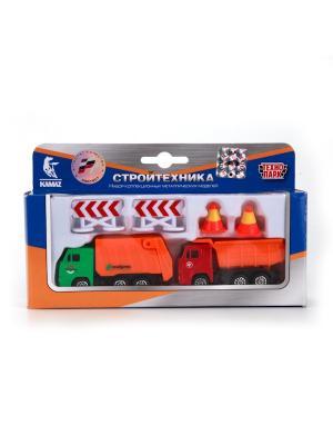 Набор из 2-х машин Технопарк металлический КАМАЗ. Стройтехника.. Цвет: красный, оранжевый
